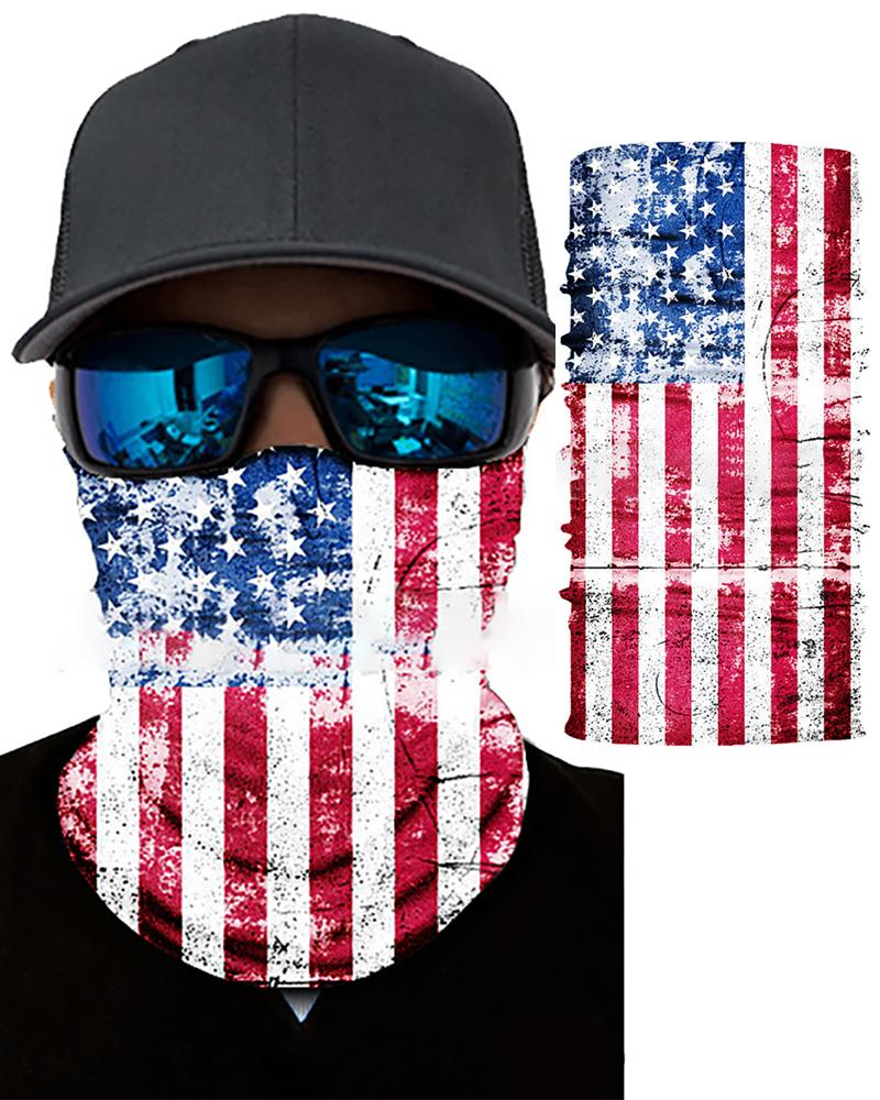 AmericanFlagPrint Breathable FaceBandanaMagic Scarf Headwrap Balaclava фото