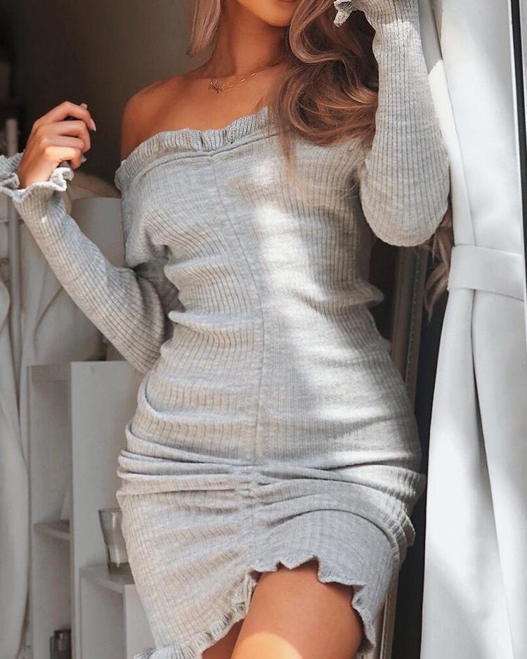 Off Shoulder Frills Drawstring Bodycon Dress, Gray