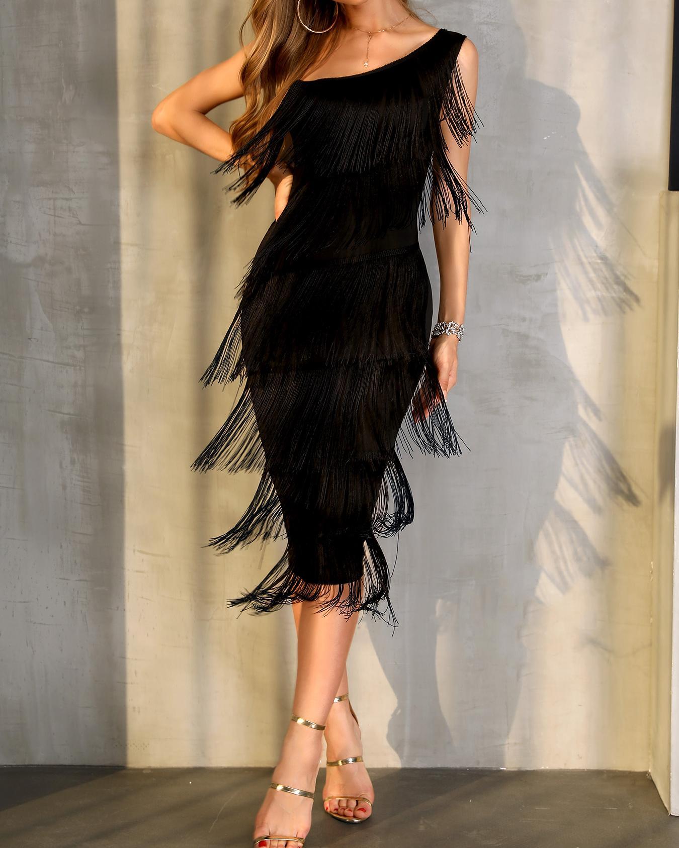 Tassel Design One Shoulder Party Dress