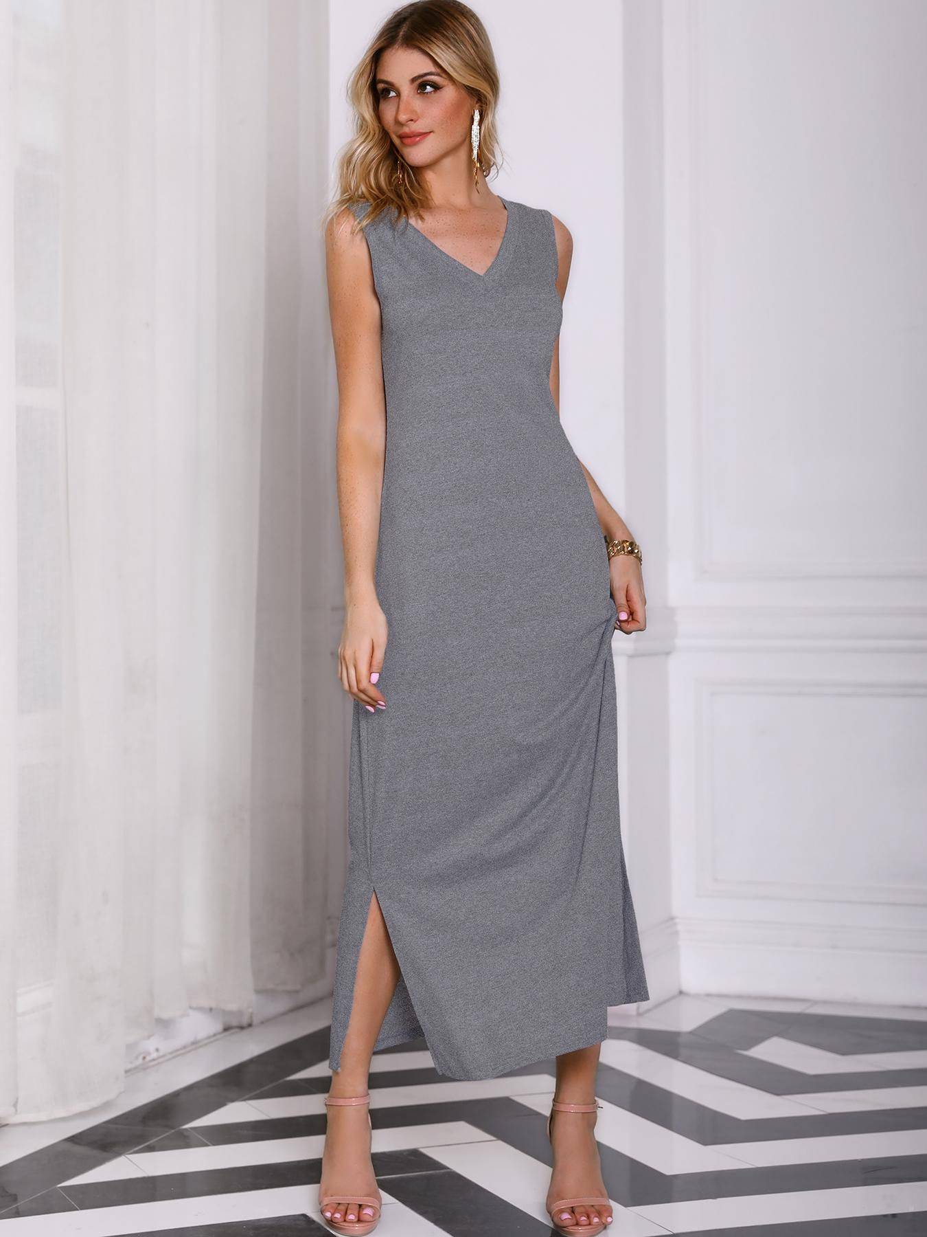 Solid Sleeveless Slit Tank Causal Dress фото