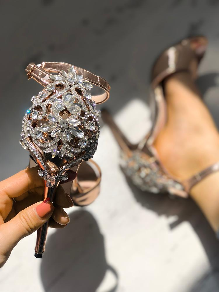 Glittering Embellished High Heeled Sandals