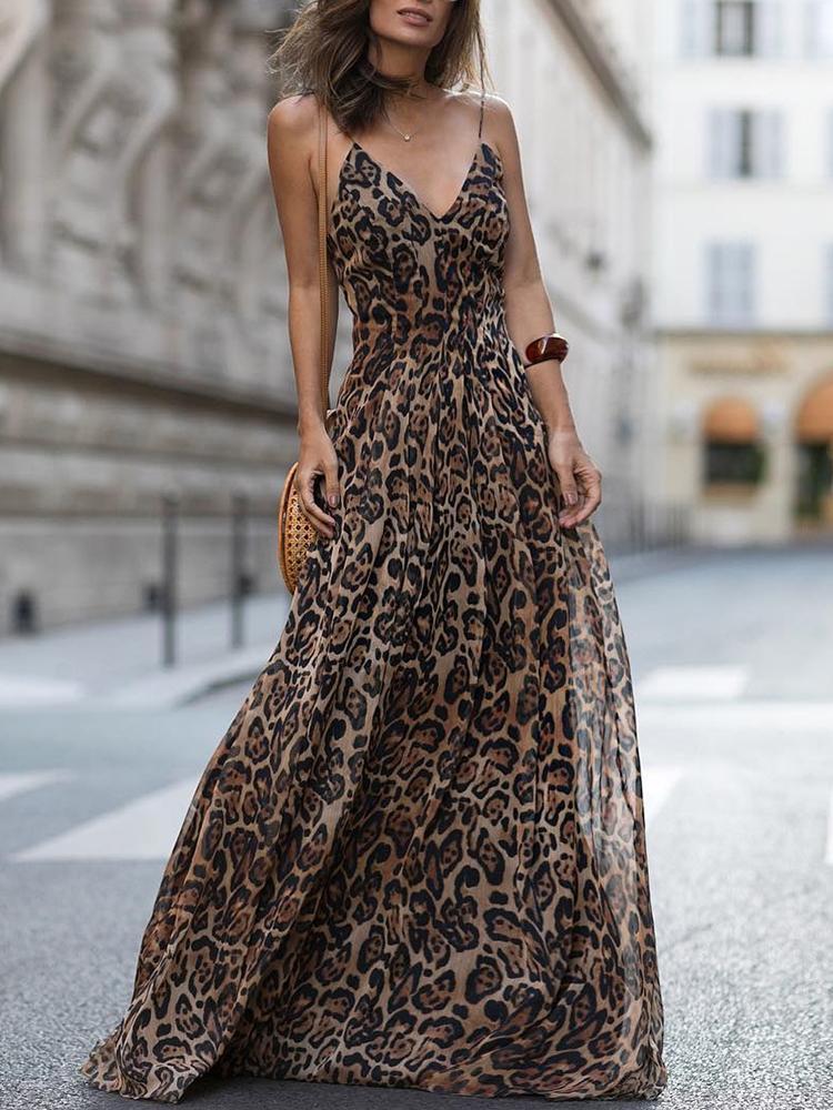 chicme / Vestido maxi de tirantes de espagueti con cuello en V de leopardo