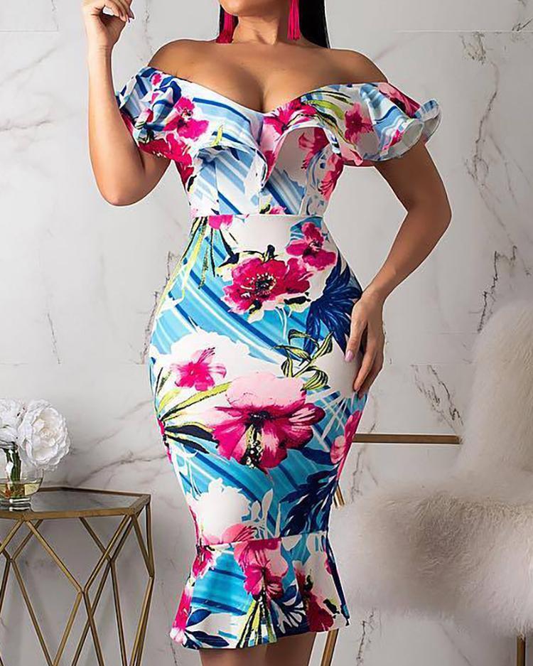 Floral Print Off Shoulder Ruffles Dress