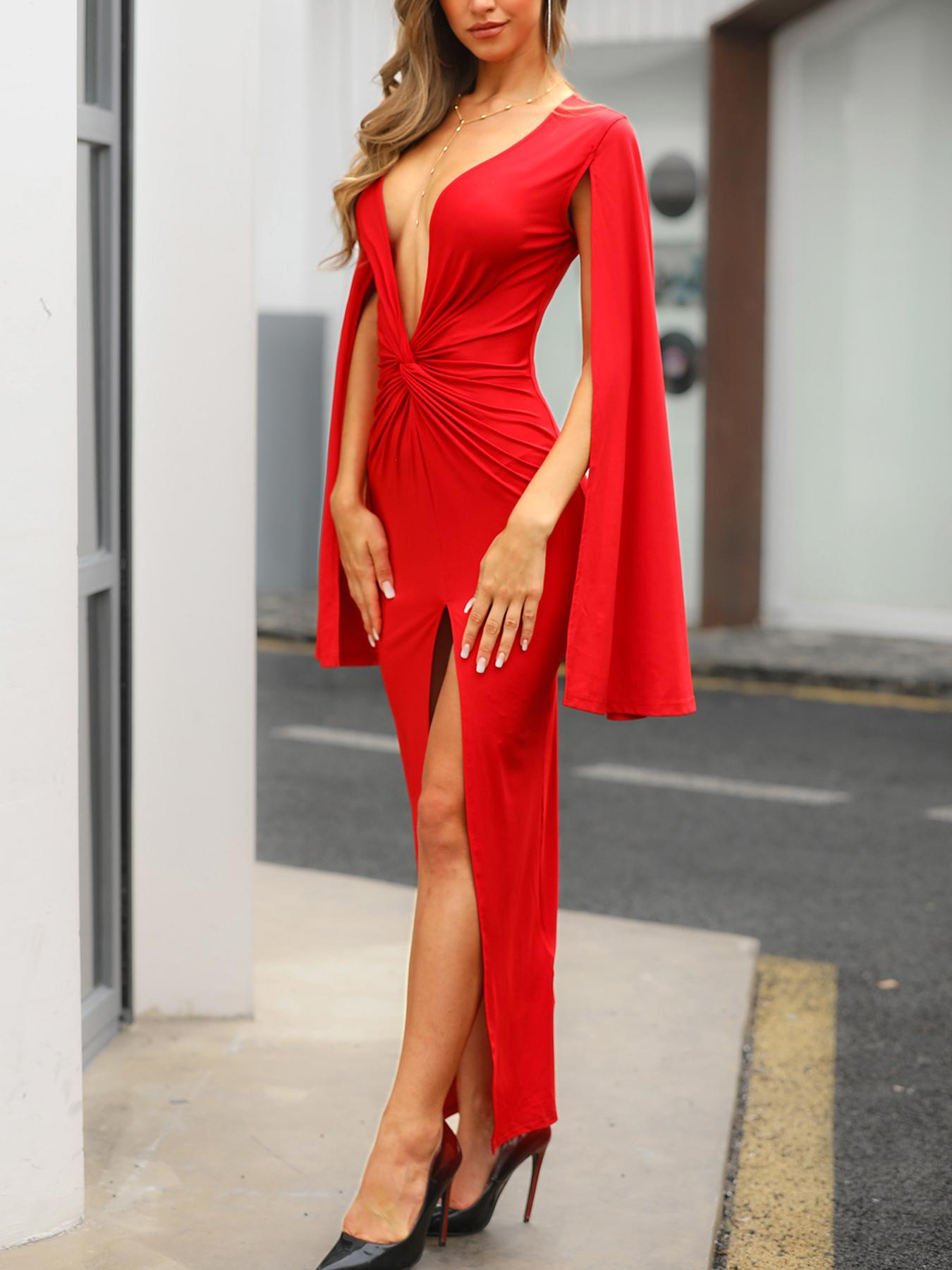 Plunge Twisted Billowing Split Sleeves Evening Dress