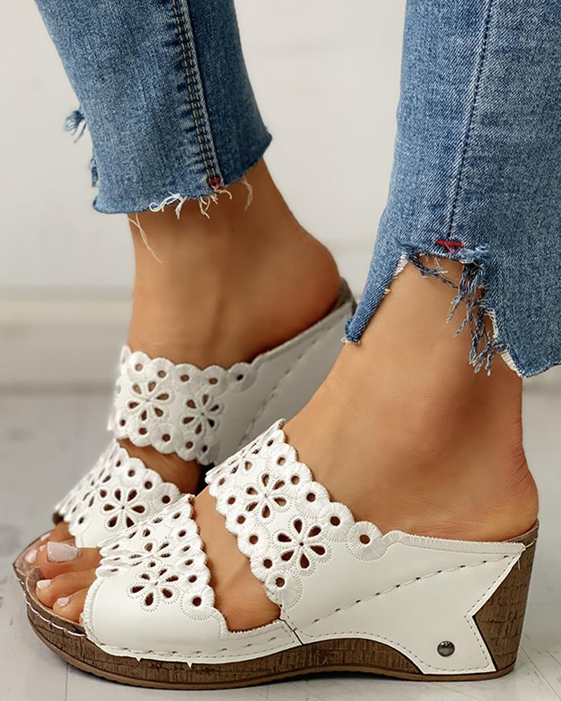 Open Toe Hollow Out Wedge Sandals фото