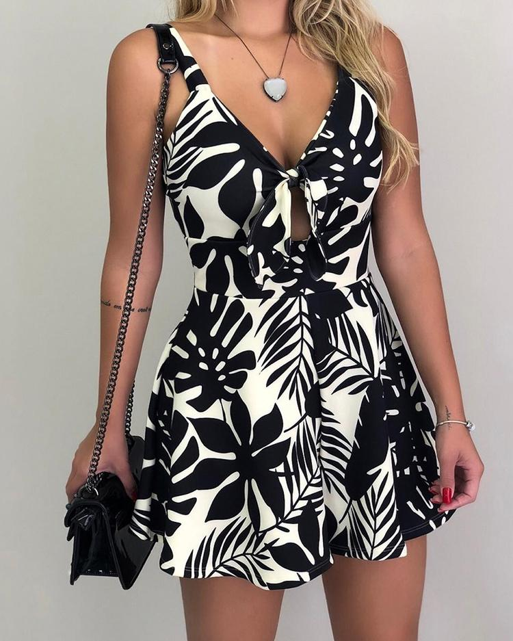 Tropical Print Tied Front Casual Romper фото