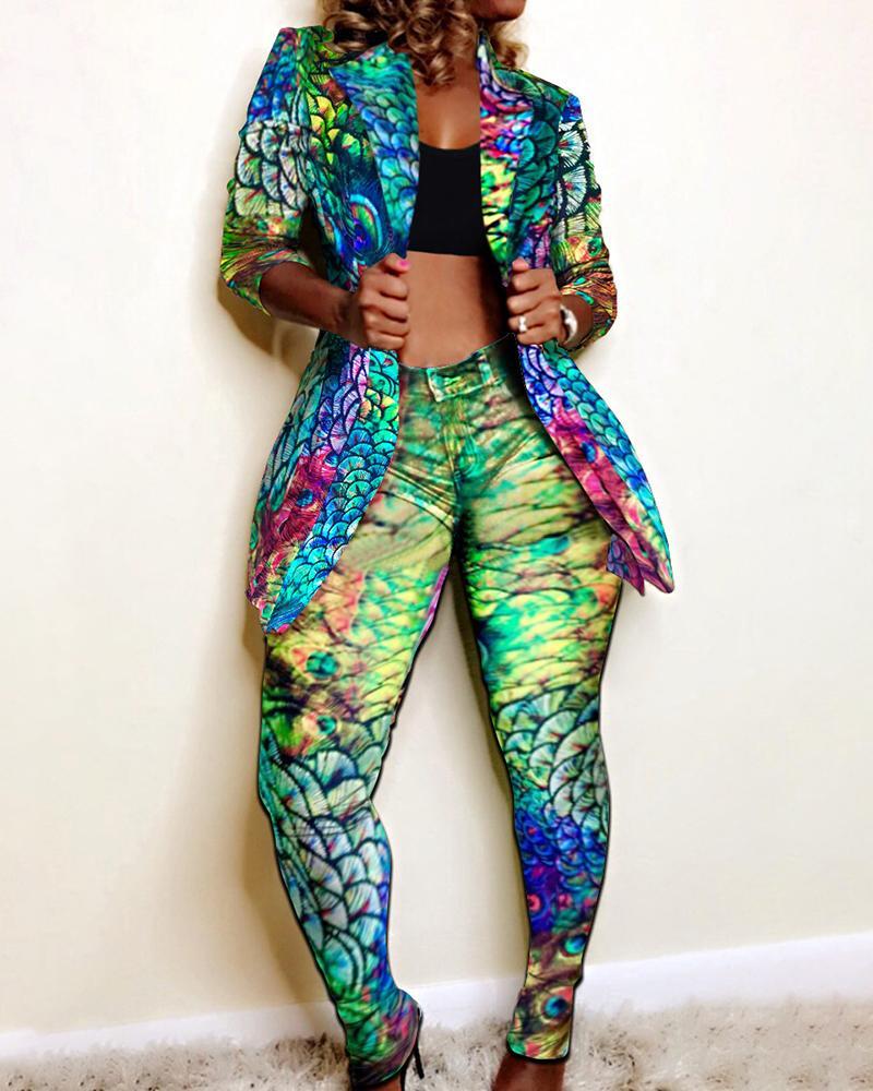 Print Notched Collar Blazer & Pants Sets фото
