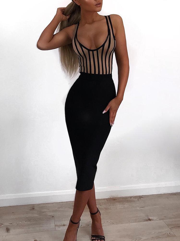 Sexy Striped Packwork Bodycon Midi Dress, Black