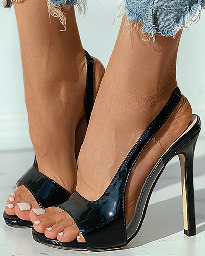 ivrose / Clear Perspex Open Toe Stiletto Heel