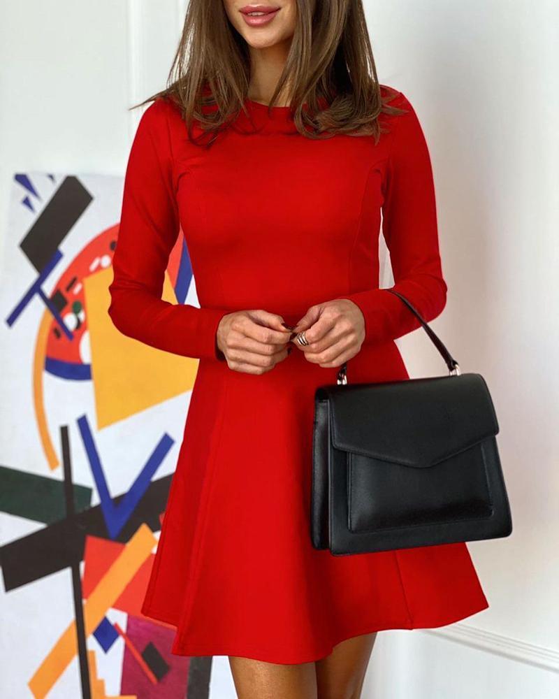chicme / Plain Button Design Long Sleeve Dress