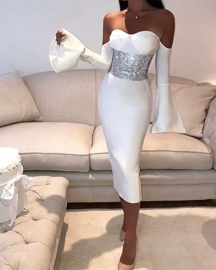 ivrose / Elegante vestido ajustado sin manga con hombros descubiertos