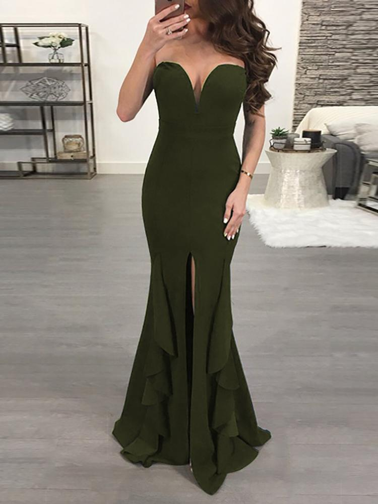 chicme / Sweetheart Solid High Slit Ruffled Maxi Dress