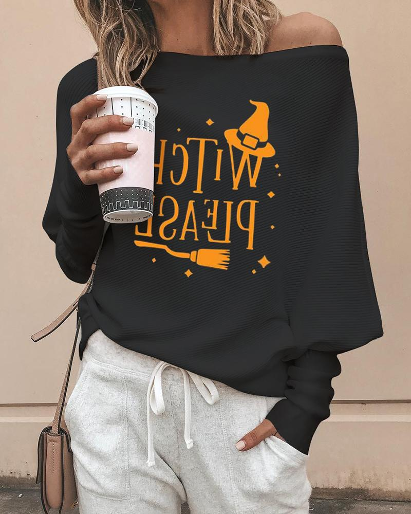 Halloween Letter Print Long Sleeve Casual Top фото