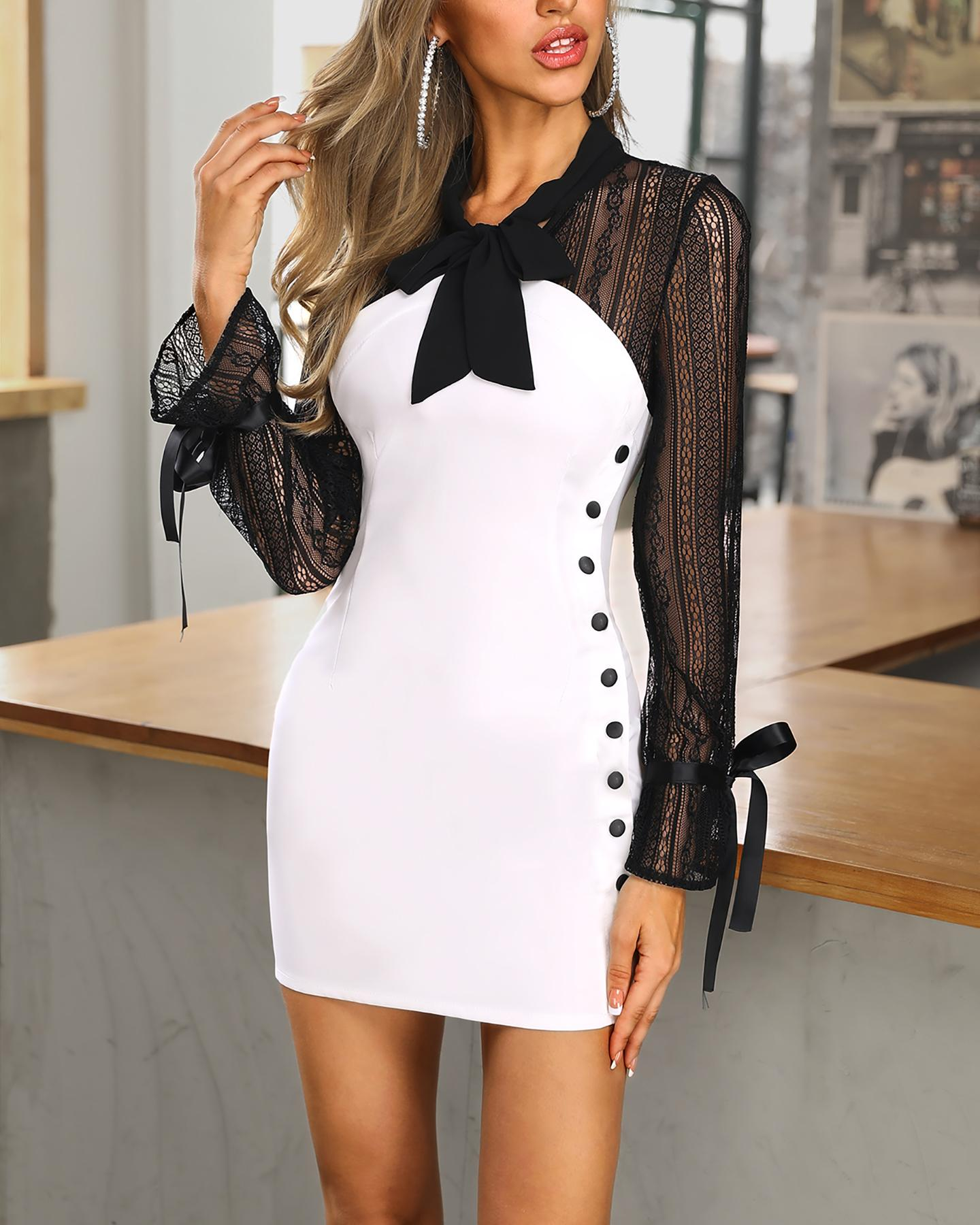 Colorblock Lace Insert Buttoned Bodycon Dress фото