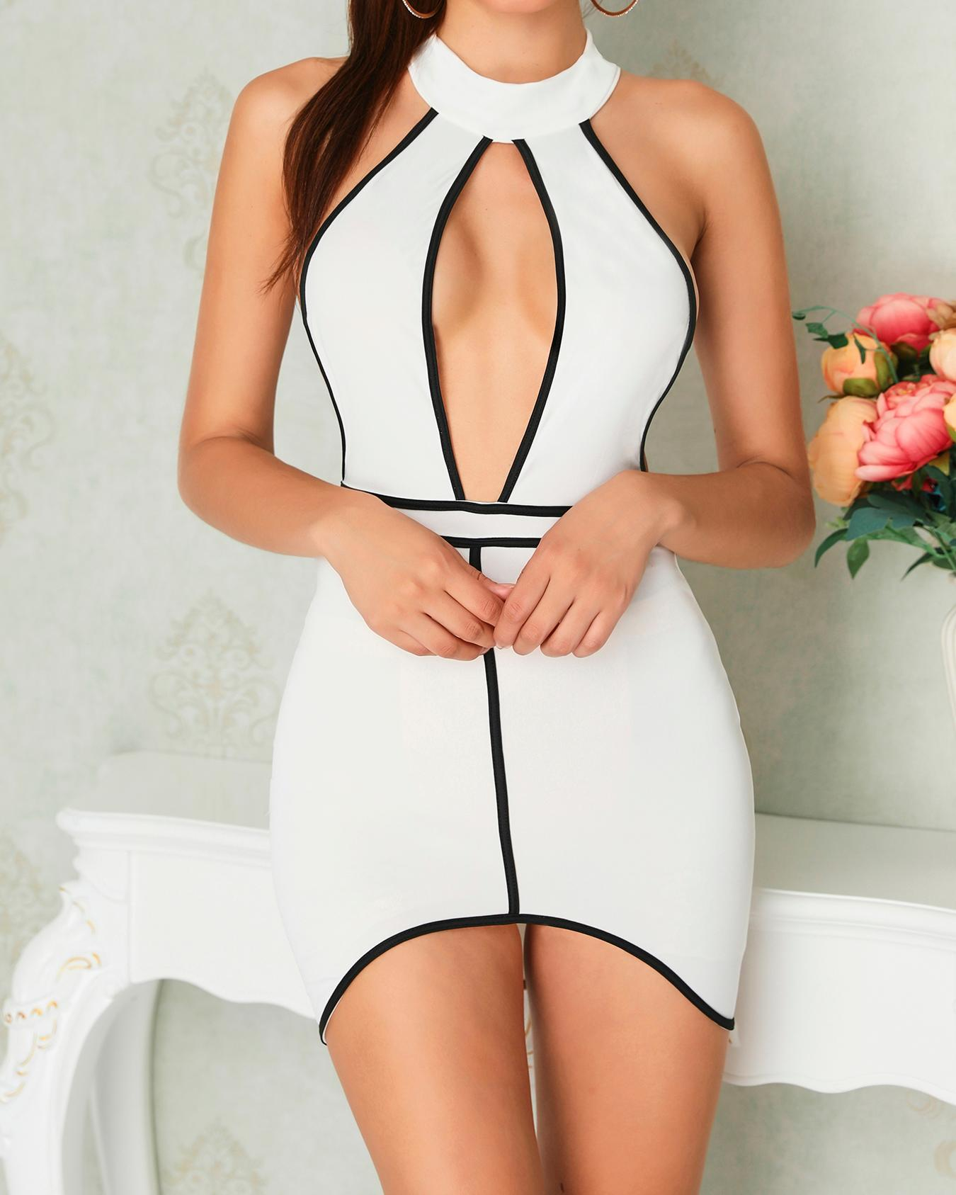 Halter Cutout Front Contrast Binding Bodycon Dress, White