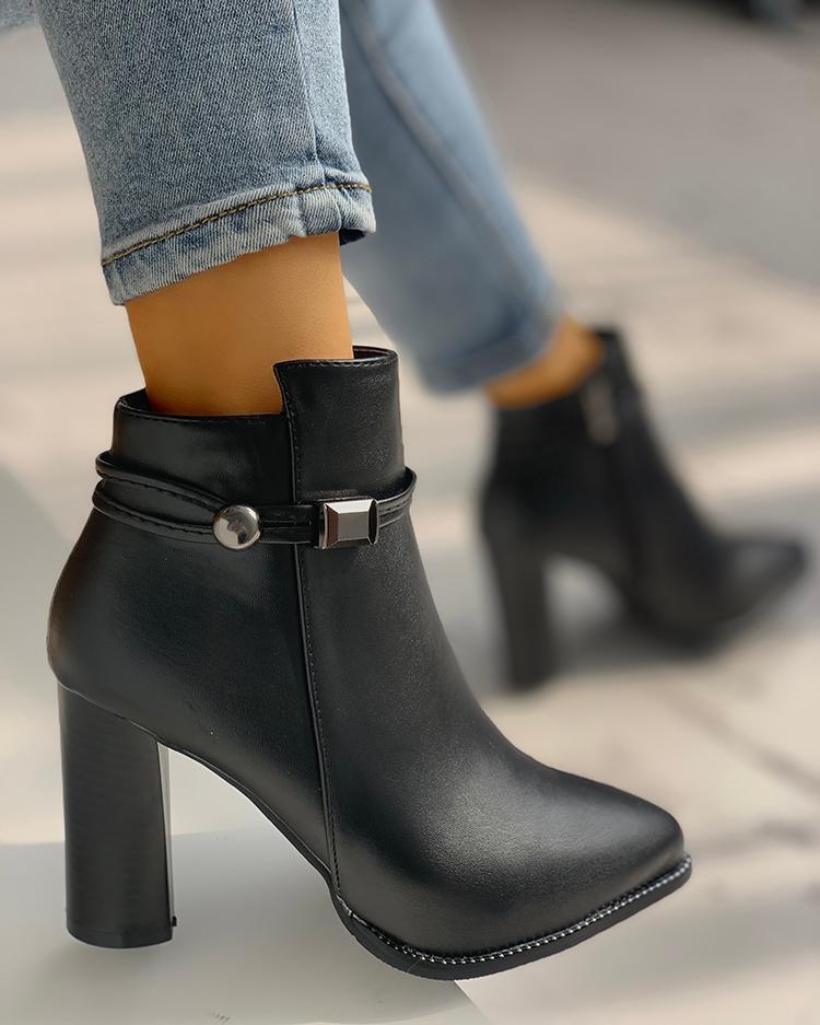 PU Pointed Toe Chunky Heeled Boots