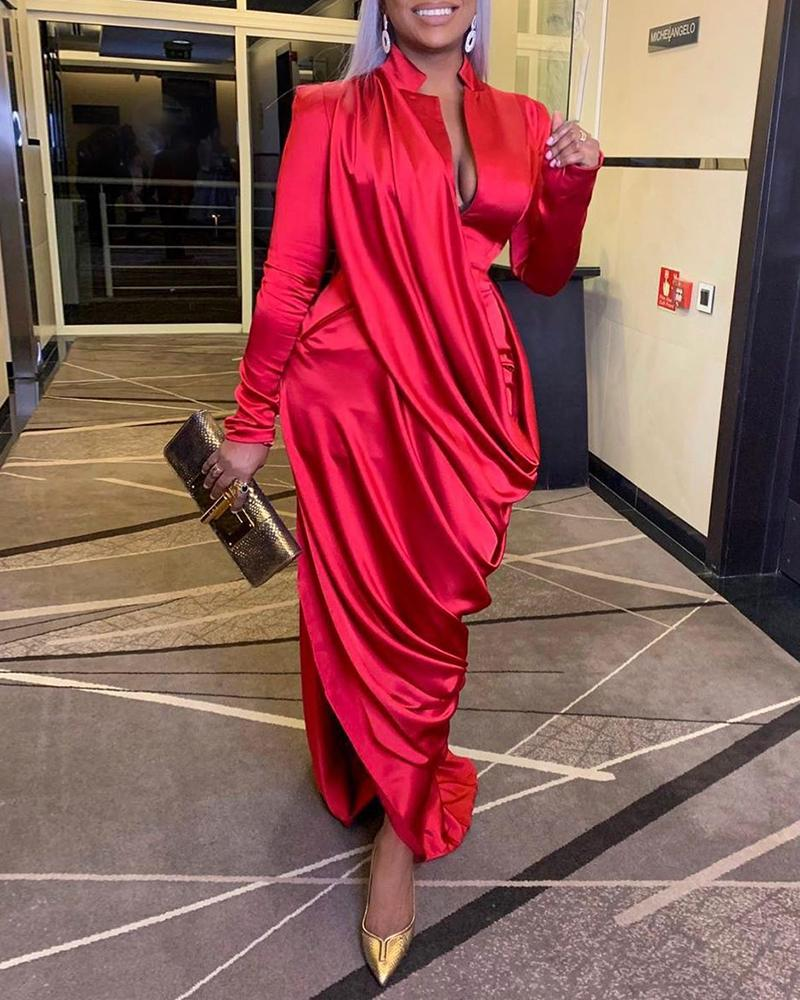 joyshoetique / Solid Plunge Ruched Evening Dress