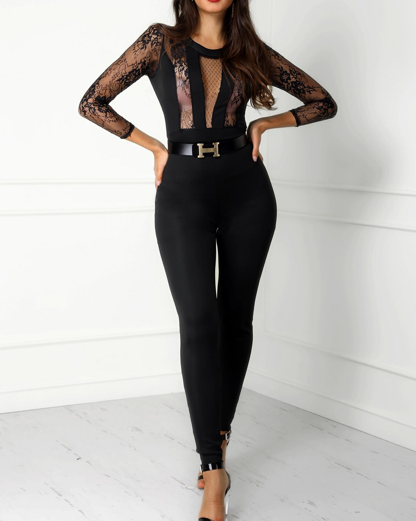 Lace Crochet Mesh See Through Jumpsuit, Black