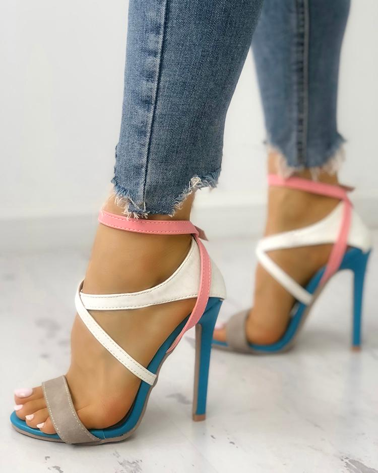 Купить со скидкой Multicolor Strappy  Cut Out High-heel Sandals