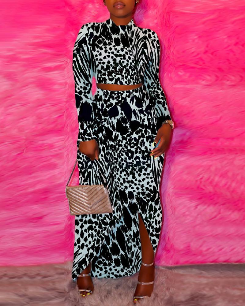 ivrose / Abstract Zebra Print Long Sleeve Top & Slit Skirt Sets