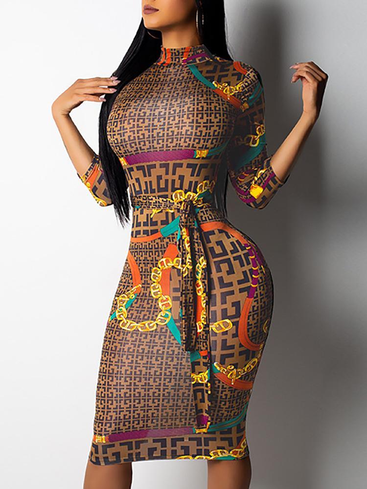 Digital Print Belted Midi Dress