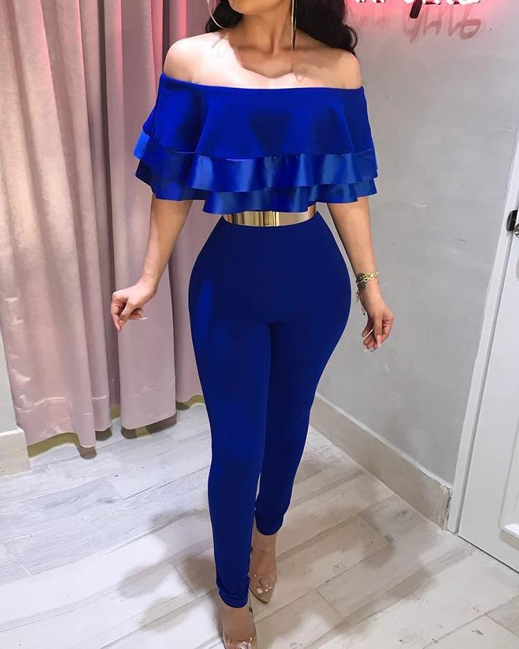 Off Shoulder Layered Ruffles Petite Jumpsuit, Blue