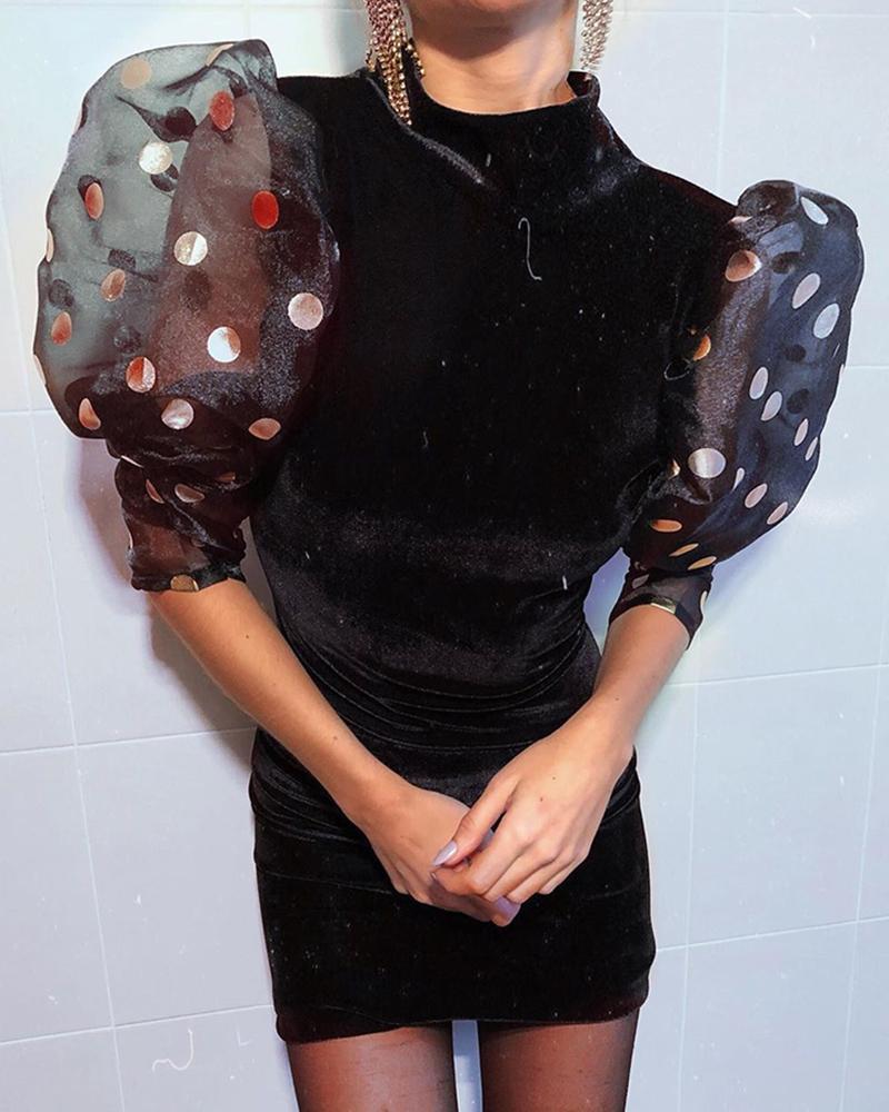 chicme / Velvet Mesh Dot Puffed Sleeve Dress