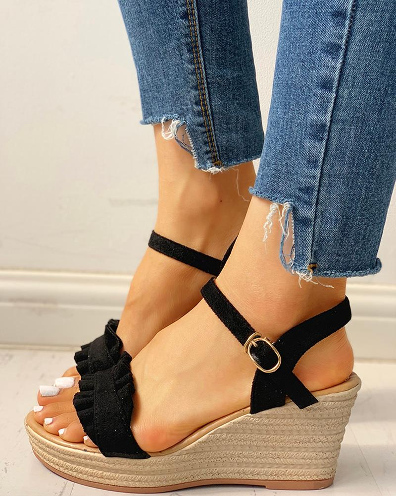 Suede Frill Hem Espadrille Wedge Sandals фото