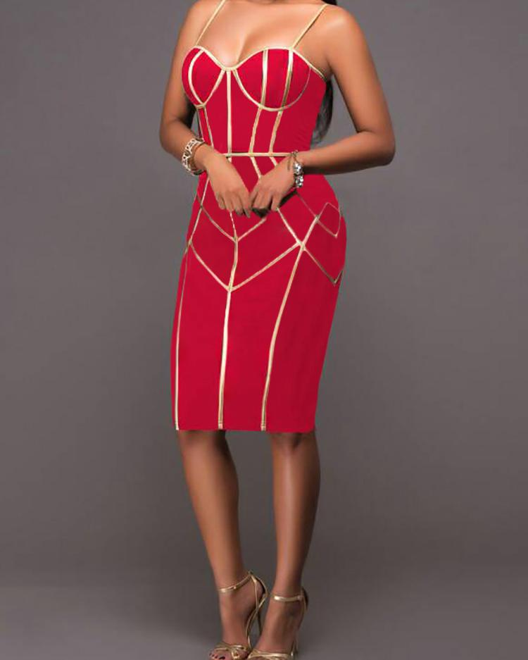 boutiquefeel / Spaghetti Strap Contrast Binding Bodycon Dress