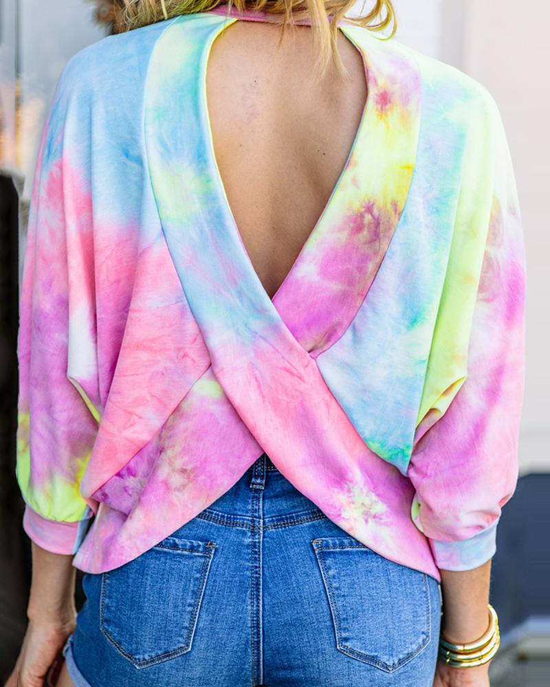 Tie Dye Print Crisscross Backless Top фото