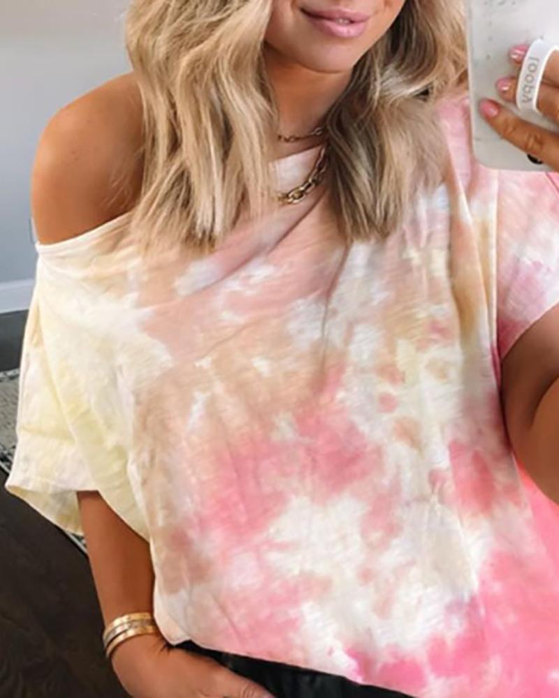 Short Sleeve Tie Dye Print Casual T-shirt фото