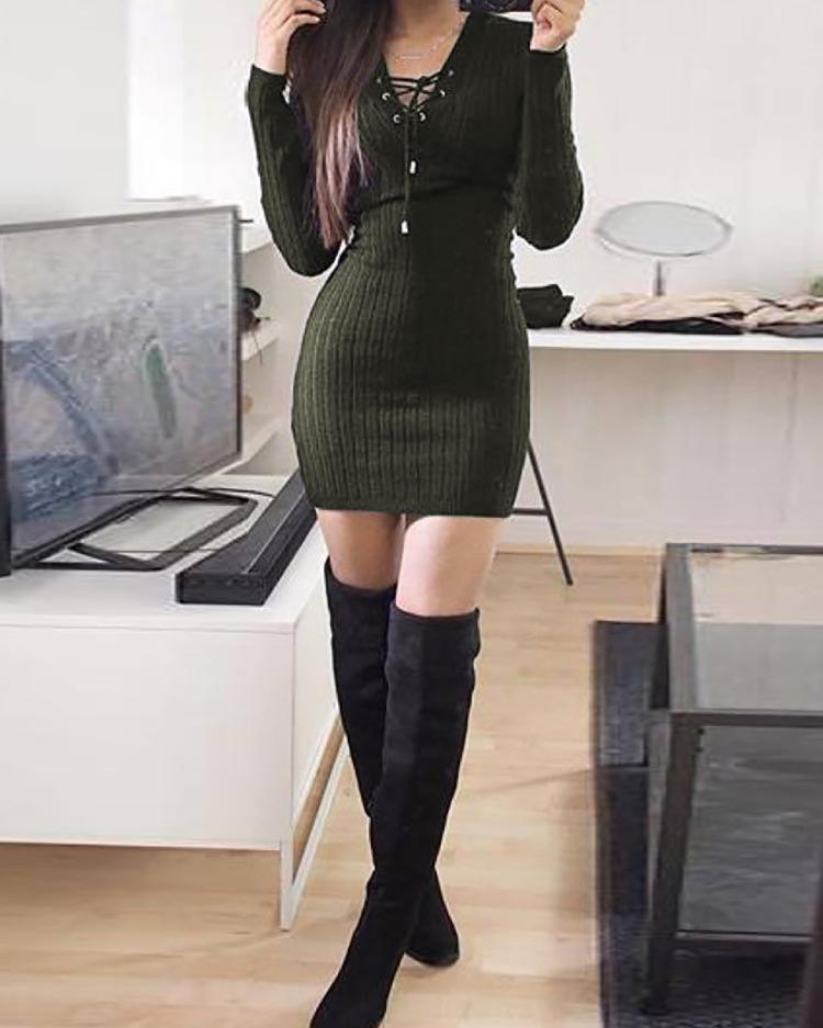 Купить со скидкой Sexy Lace-up Long Sleeve Bodycon Mini Dress