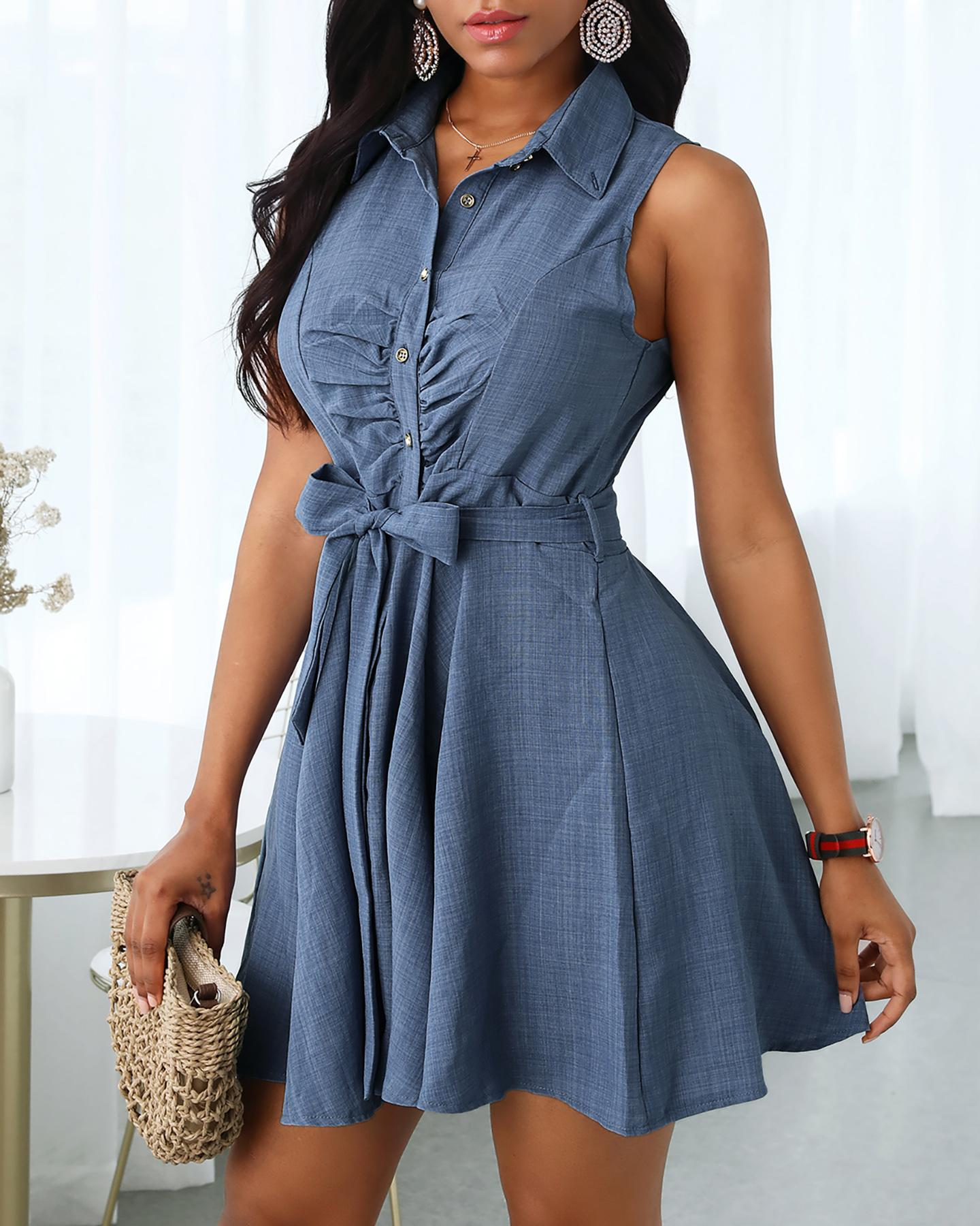 Sleeveless V-Neck Tie Waist Shirt Dress фото