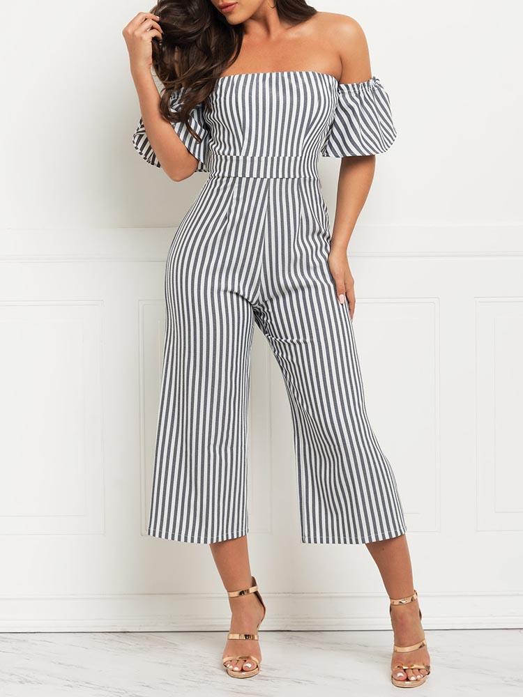 Striped Flared Sleeve Bardot Wide Leg Jumpsuit фото