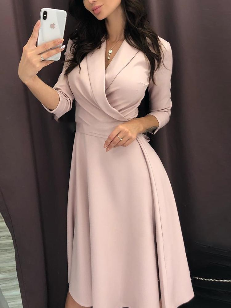 Solid Ruched Wrap Casual Dress