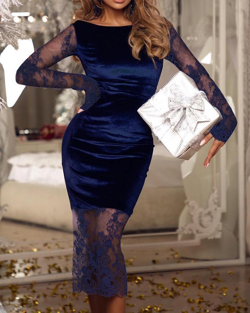 ivrose / Mesh Lace Fishtail Velvet Midi Dress
