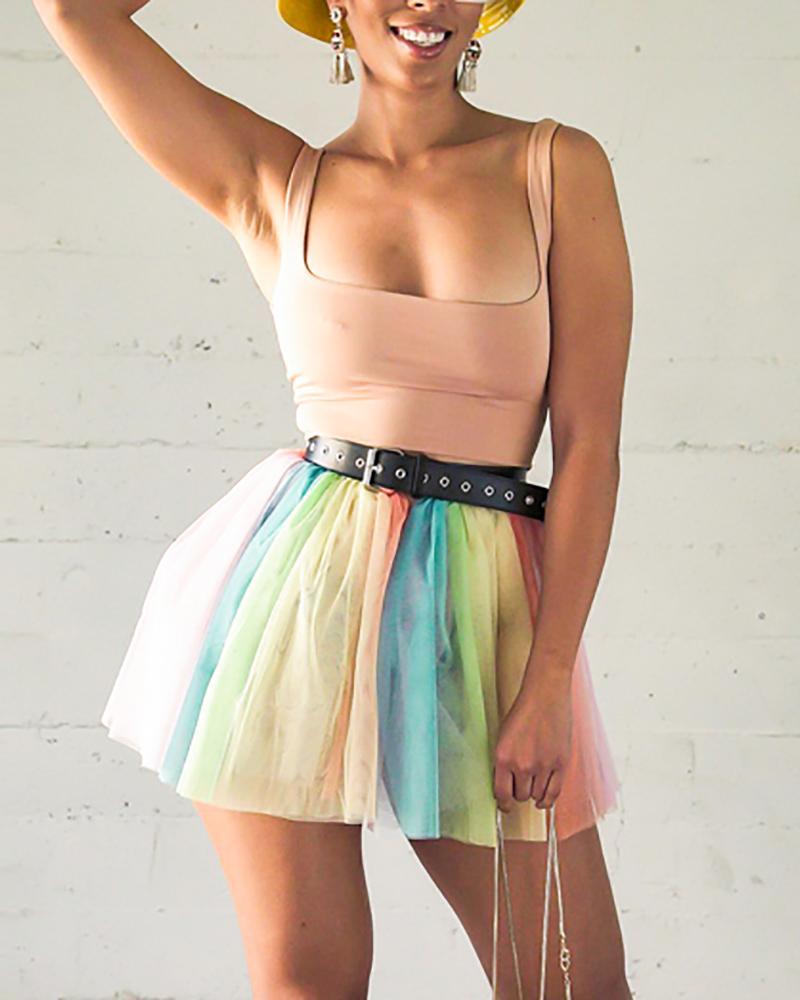 boutiquefeel / Colete de cor pura saia de malha de gradiente de duas peças