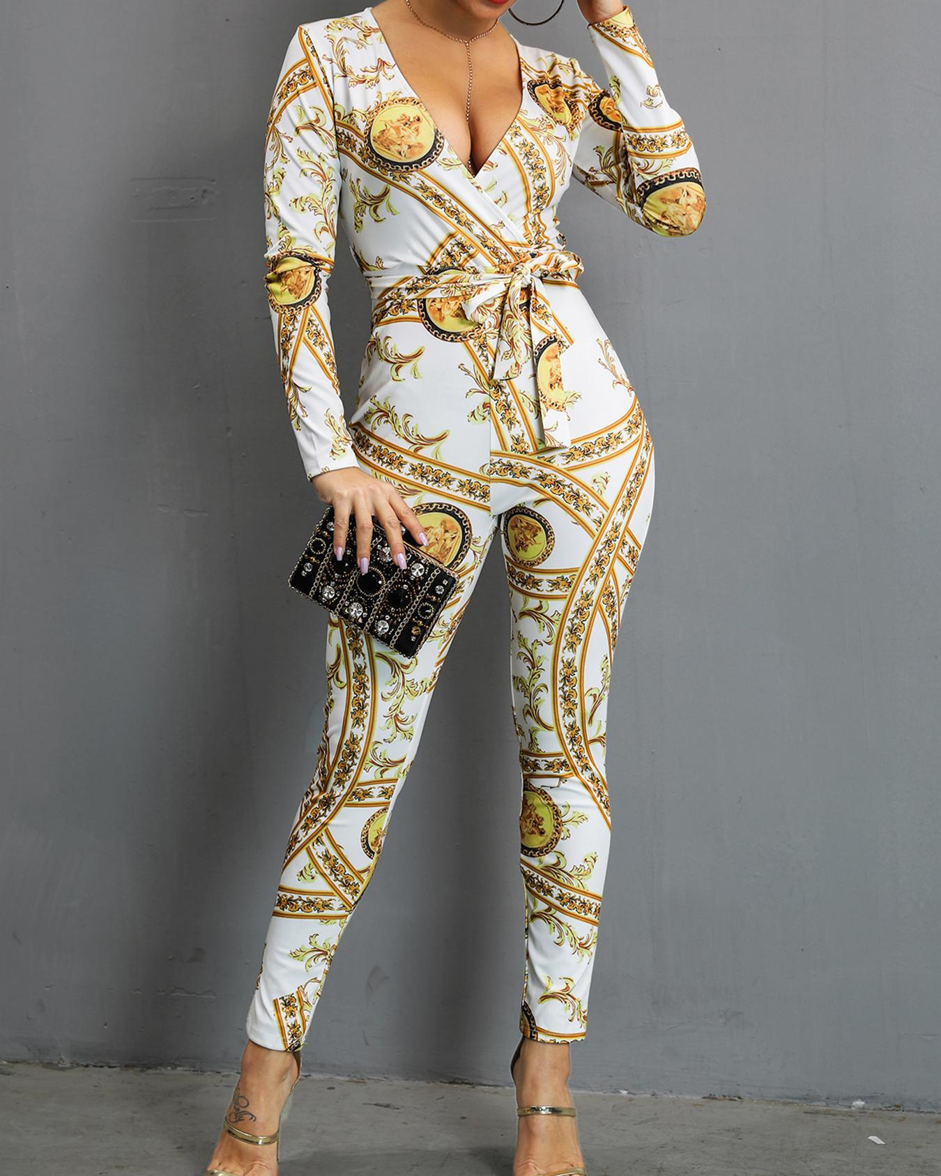 Plunging Scarf Print Belted Jumpsuit