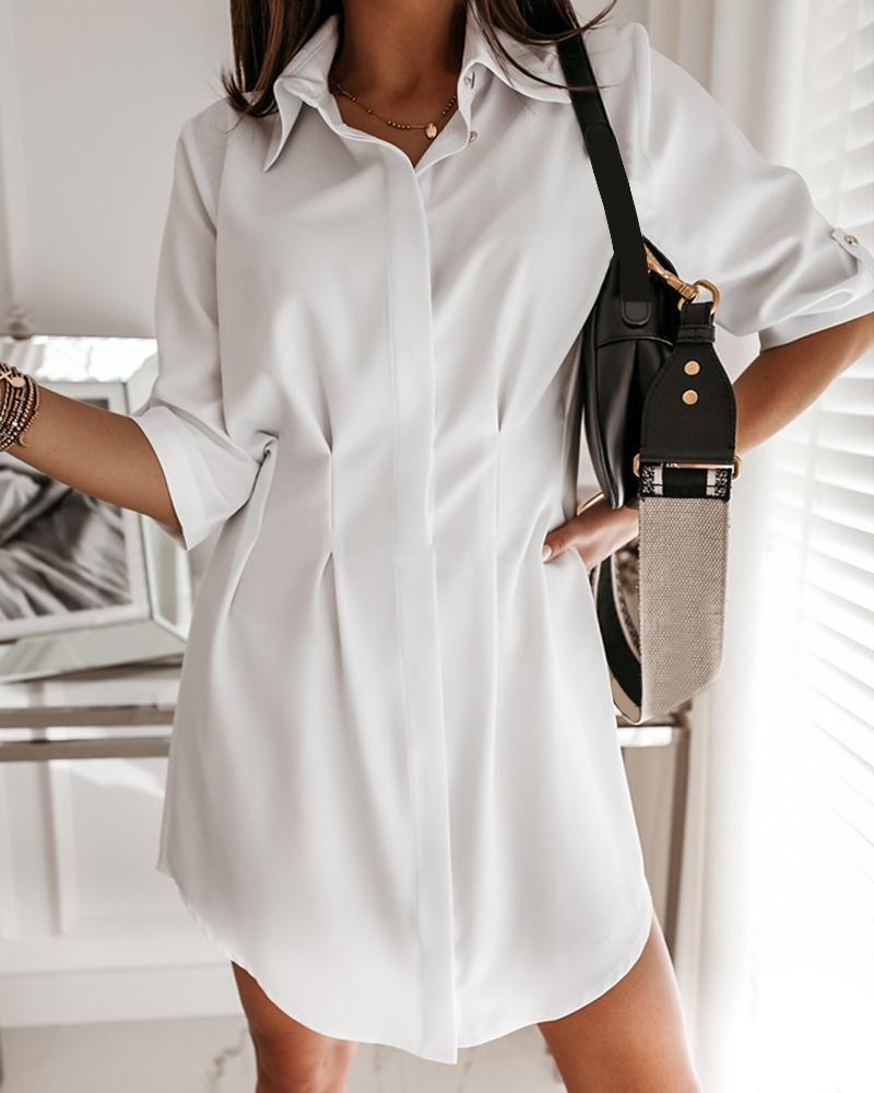 Solid Bottoned Irregular Casual Dress фото