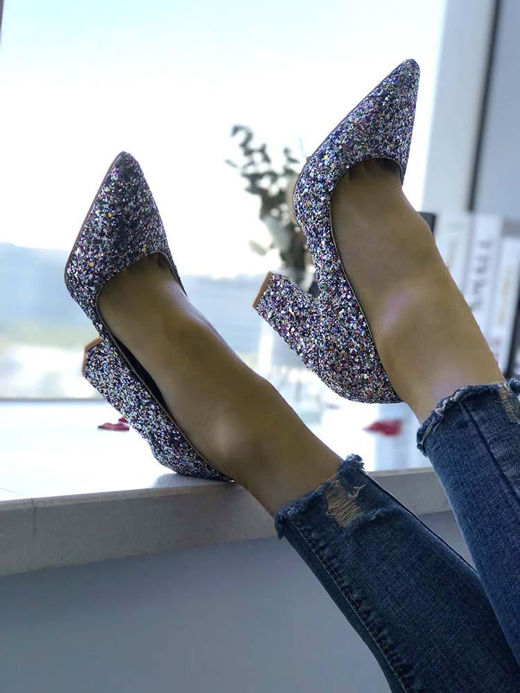Glittering Point Toe Chunky Heels