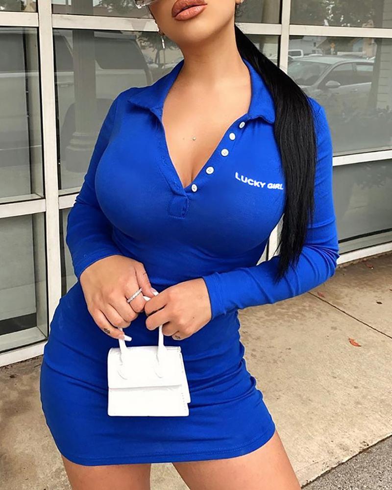 chicme / Letter Print Button Design Bodycon Dress