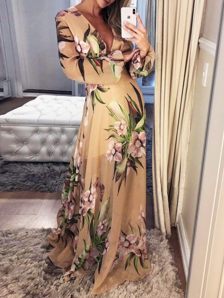 joyshoetique / Floral Flock Print Plunge Maxi Dress