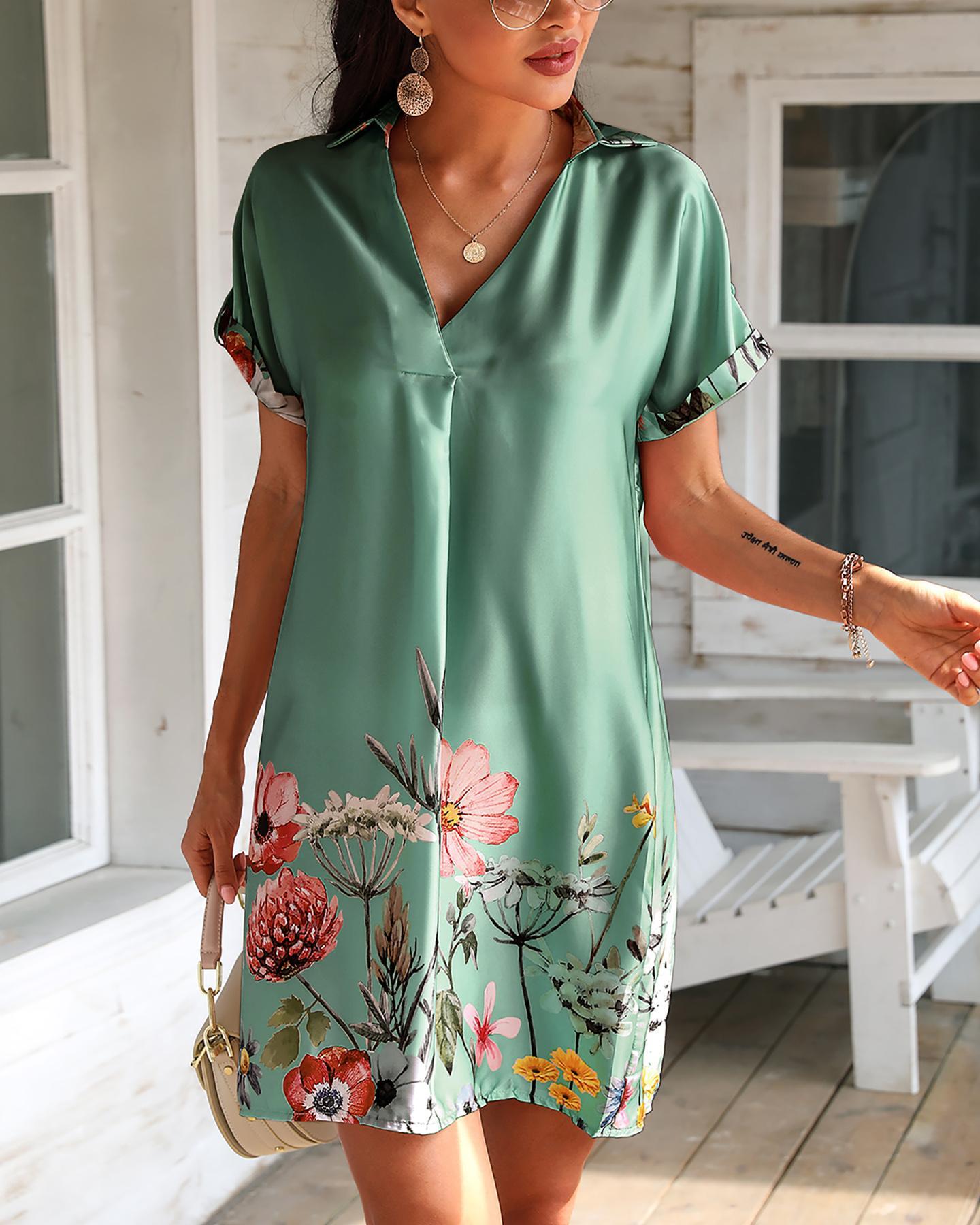 Floral Print Short Sleeve Satin Dress фото