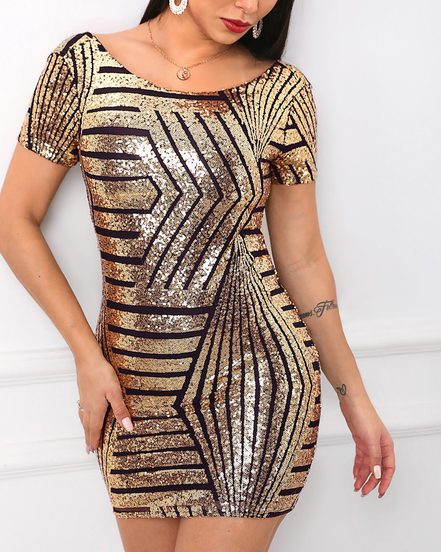 boutiquefeel / Vestido de lantejoulas sem encosto de manga curta com brilho