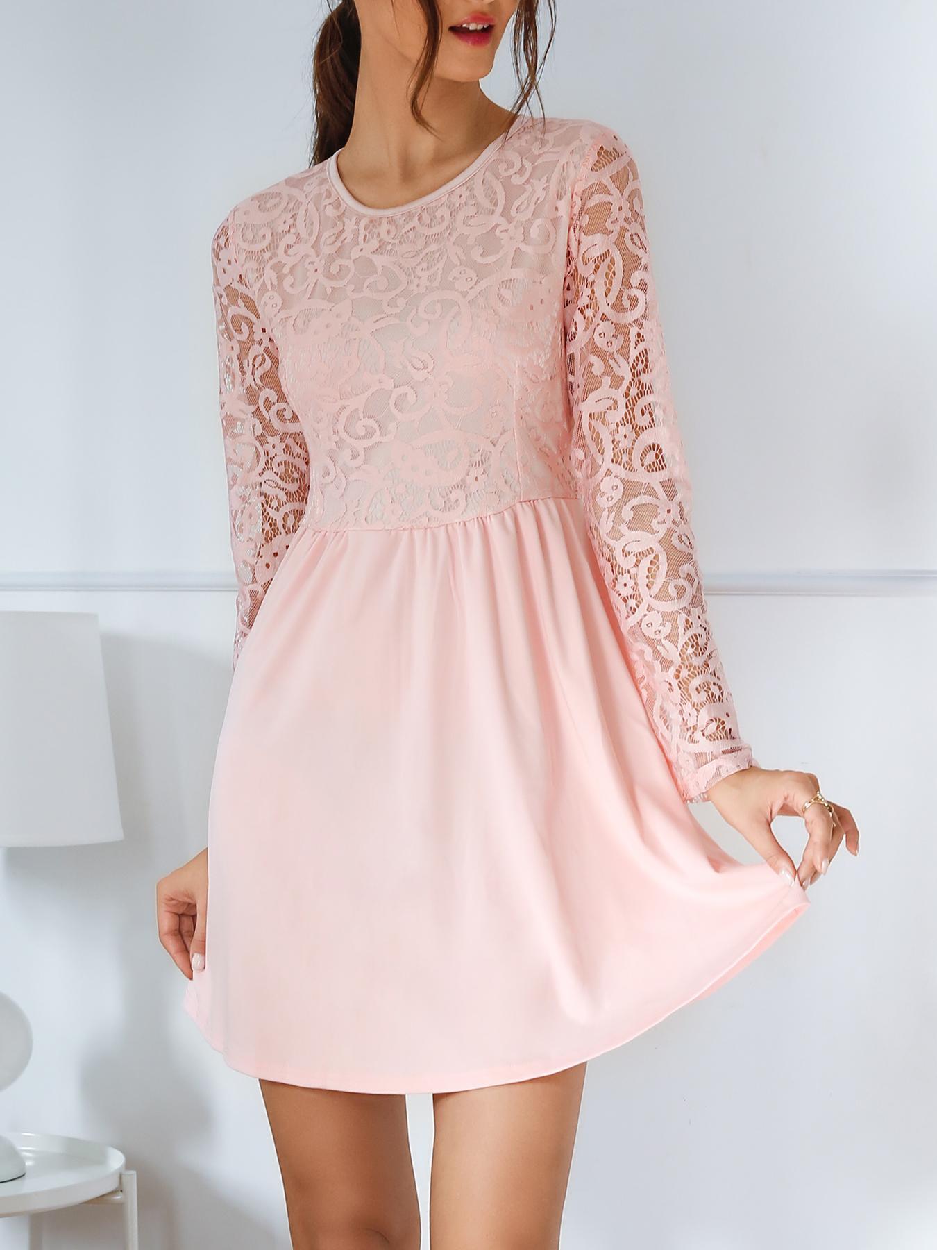 Crochet Lace Splicing Slinky Mini Dress фото