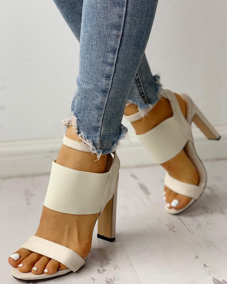 joyshoetique / Open Toe Elastic Strap Heeled Sandals