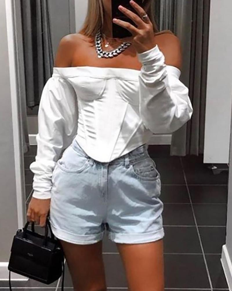Solid Off Shoulder Casual Blouse фото