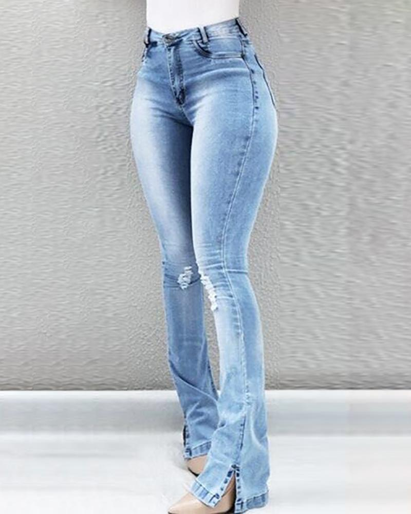 ivrose / High Waist Ripped Bell-Bottom Jeans
