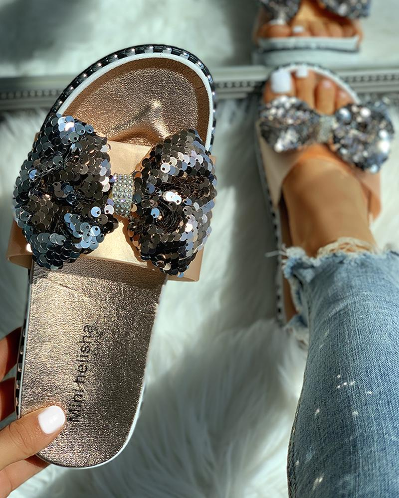boutiquefeel / Sandalias planas de lentejuelas diseño bowknot