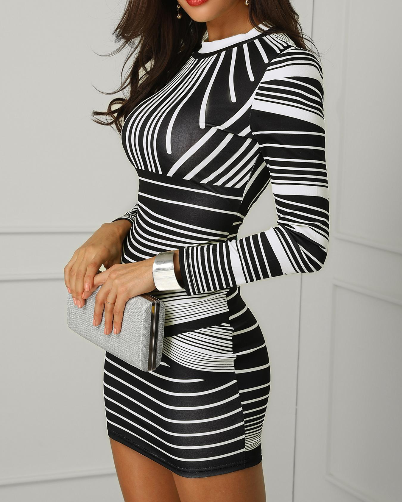 Contrast Striped Long Sleeve Bodycon Dress, White